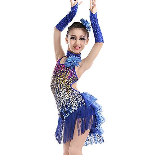 GOWE Mädchen Pailletten Fransen Rückenfreie Mode Latin Dance Dress - Kinder Lyrische Moderne Zeitgenössische Gymnastik Tanz Performance Wettbewerb Tango Salsa Tanz Kostüme, Dunkelblau/110 (Tanz Wettbewerbs Kostüm Lyrischen)