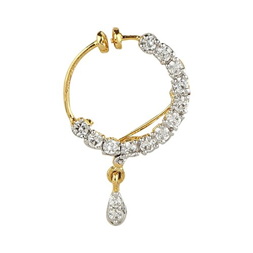 Geode Delight American Diamond studded Gold Plated Nosering for Women & Girls