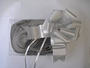 10 x 50mm (2) Rapid Satin Pull Bows - SILVER for Gift Decorations, Flower Bouquets & Arrangements, Baskets, Wedding Cars, Floral Tributes, Arts & Crafts, Christmas Hampers by Apac