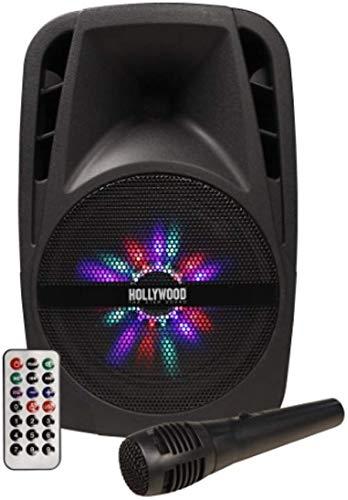 "LHG Mobile Soundanlage 300W Beschallungsanlage Hollywood + LED-Beleuchtung + Kabelmikrofon + Teleskopgriff Lautsprecher aktiv 43cm Höhe - 8"" Woofer USB/SD Bluetooth Soundsystem inkl. Fernbedienung"