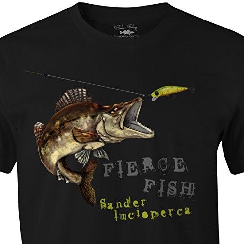 Fladen T-Shirt - Angeln–Hungriger Zander–100 % Baumwolle–Design Zander beißt Köder–Ideal für diejenigen, die Raubfische lieben, schwarz, L (Zander T-shirt Angeln)
