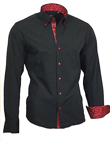 Binder de Luxe Herren Hemd Shirt modern fit mit Kontraststoff Button-Down-Kragen Langarm 760 Schwarz Rot