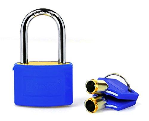 Vorhängeschloss aus Messing, mit Schlüssel Tubular Hohe Sicherheit für Garderobenschrank oder Koffer emerpack/Langbogen/Ideal für Fitnessstudio, Handgepäck, Rucksack/verschiedene Farben/Schneller Versand aus Spanien/mit Tasche, blau