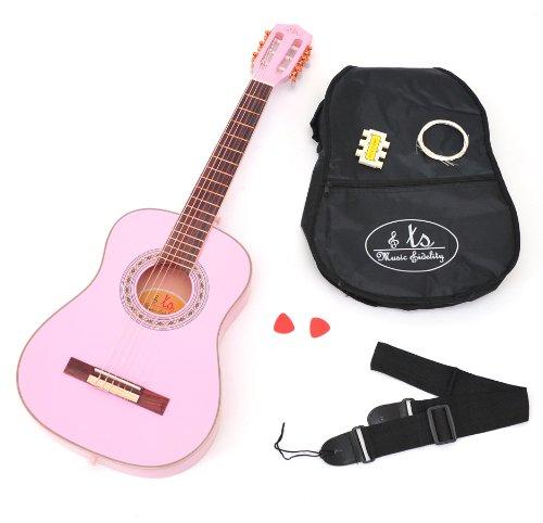Rosa Gitarren-saiten (ts-ideen 3/4 Akustik Kindergitarre Klassikgitarre Konzertgitarre in Rosa für 8 - 12 Jahre mit Zubehörset (gepolsterte Gitarrentasche, Gurt, Saiten, Stimmpfeife und zwei Plektren))