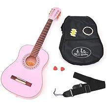 ts-ideen - Guitarra acústica infantil (3/4, para niños de 6 a 12 años, incluye set de accesorios: funda acolchada, correa, cuerdas, silbato afinador y 2 púas), color rosa