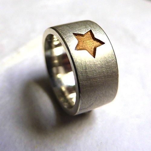"""käte fraas Goldschmiedekunst Taufring mit vergoldeten Motiv """" Stern """" und Gravur auf der Innenseite in 925er Silber. Handmade, Taufschmuck, Taufkette"""