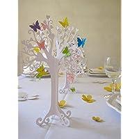 Hochzeit |Herzbaum| Tischdeko| mit bunten schmetterlingen | höhe 23cm weiß 1stk mit 10 Schmetterlingen zum selbst ankleben