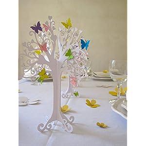 Konfirmation  Herzbaum  Tischdeko  mit bunten schmetterlingen   höhe 23cm weiß 1stk mit 10 Schmetterlingen zum selbst ankleben