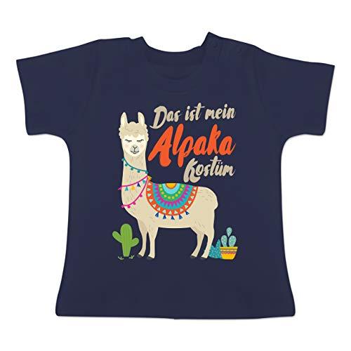 Kostüm 2 Für Lama - Karneval und Fasching Baby - Das ist Mein Alpaka Kostüm - 1-3 Monate - Navy Blau - BZ02 - Baby T-Shirt Kurzarm