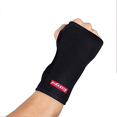 Kuangmi Wrist Carpal Tunnel Splint Removable Aluminum Sheet Right Left Black Full Adjustable Hand Palm Support Brace for Tendonitis Wrist Injury Strain Pain Relief (Left)
