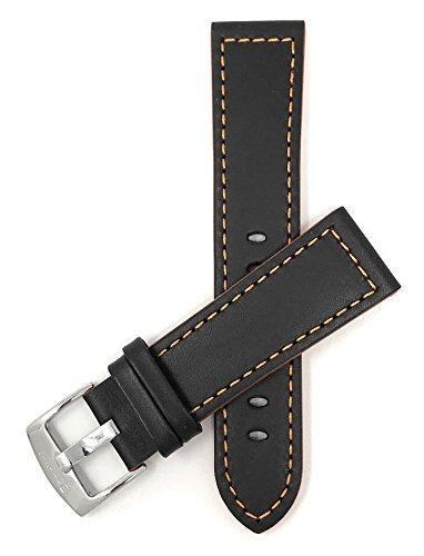 Bandini Extra Long (XL) 24mm Schwarz Mit Orangener Naht Herren Leder Uhrenarmband, Racer, Sport