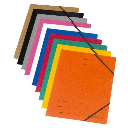 Herlitz 11159688 Eckspanner A4 Colorspan, 355 g/qm, 5er Packung, Farbe schwarz -