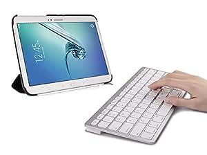 SPARIN Ultra Slim Mini Bluetooth Keyboard for Samsung Galaxy Tab Pro (8.4, 10.1, 12.2 inch), Galaxy Note Pro 12.2 inch, Galaxy Note 10.1 2014 Edition, Galaxy Tab 3, Galaxy Tab 2, Galaxy Note 8.0, Galaxy Note 10.1 (2012 Edition) and other Android Tablets - White
