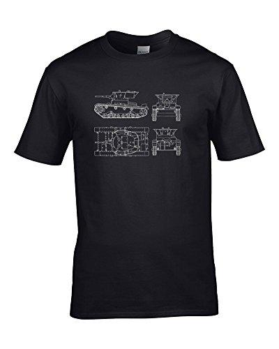 FatCuckoo T26sowjetischen Licht in fantry Tank Aus 2. Weltkrieg (Weltkrieg Zwei)-Herren T-Shirt von Fat Kuckuck Gr. Medium, Schwarz