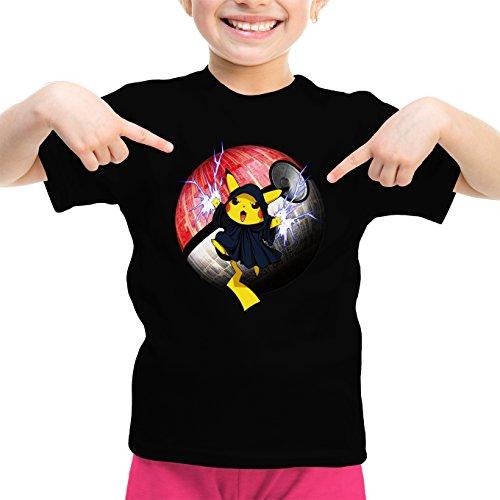 T-Shirt Enfant Fille Noir Star Wars - Pokémon parodique Pikachu et Palpatine Darth Sidious : Pika Dark Side : (Parodie Star Wars - Pokémon)