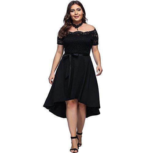 Damen Abendkleider lang Grosse Grösse Schwarz sexy Schulterfrei Partykleid Spitze Off Shoulder
