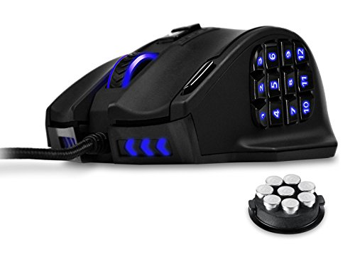 UtechSmart Venus 50 to 16400 DPI High Precision Laser MMO Gaming Mouse for PC, 18 Programmable Buttons, Weight Tuning Cartridge, 12 Side Buttons, 5 programmable user profiles, Omron Micro Switches, Over 16 Million Customizing LED Color Options For Side Buttons, Logo & Head Lights [18-Month Manufacturer's Warranty]