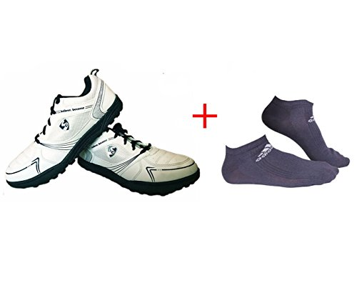 SG Shield X1 Rubber spikes Cricket Shoes with 2 Pair of Adidas Socks (White/Navy, 10 UK/44 EU)  available at amazon for Rs.797