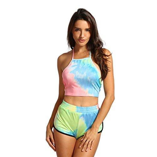 TUDUZ Damen kurzs und Top Sets Sommer Strand Zweiteiler Neckholder Beachwear Chiffon Crop Tops(M,Mehrfarbig) -