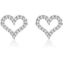 """Love & Clover """"Corazón brillante"""" Mujer Pendientes Corazón Plata 925 Estilo clásico- Mejor regalo para tu amor (Blanco)"""