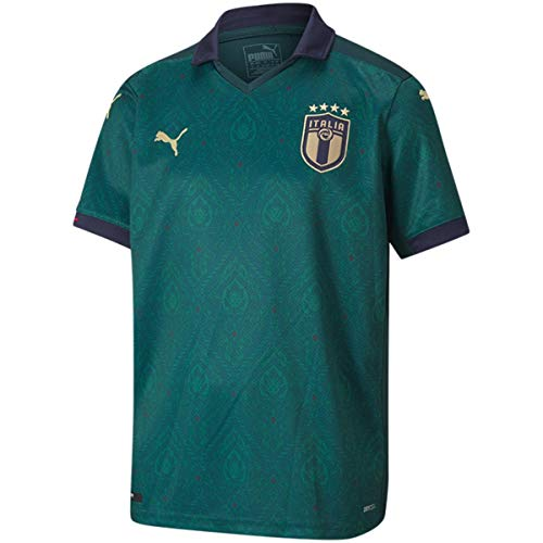 PUMA Jungen FIGC Third Shirt Replica Jr Trikot, Ponderosa Pine/Peacoat, 128