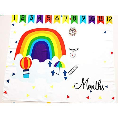 ZOYLINK Monatliche Meilensteindecke Foto Prop Regenbogen Gedruckt Foto Decke Für Baby