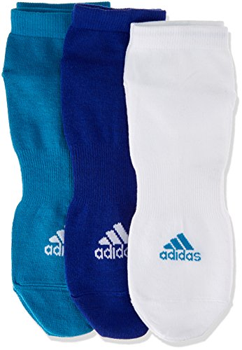adidas Herren Damen Kinder PERFORMANCE NO-SHOW THIN 3er Pack Sneakersocken 3 Farben BS1718, Farbe:Blautöne;Größe:43-46 (Kinder No Show Sock 3pk)