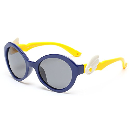 Yiph-Sunglass Sonnenbrillen Mode Angel Wings Cute Kids Sonnenbrillen Polarisierte Gläser UV-Schutz Jungen und Mädchen Alter 3 bis 12 mit Geschenkbox (Farbe : Navy blau)