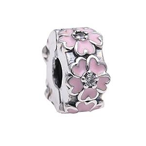 Pandora Damen-Charm Rosafarbene Primel 925 Zirkonia rosa-791823EN68