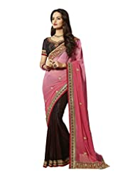 Aarti Latest Fashionable Party Wear Fancy Saree Bridal Embroidery Saree Wedding Wear Free Size - B00VRM6M7K