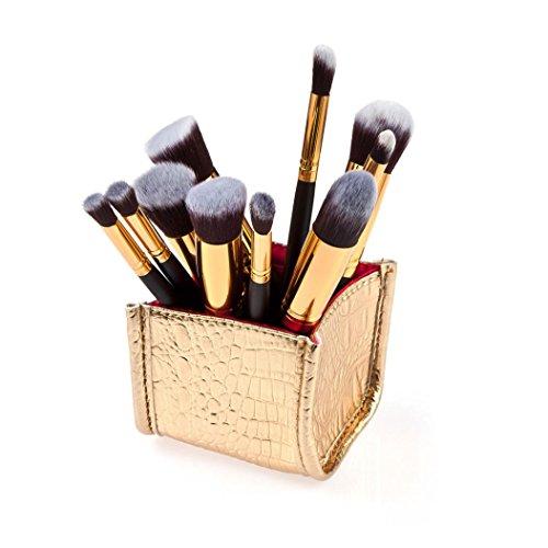 Saingace 10pcs Cosmétique de Maquillage Brosse Brosses Brosse Fard à Joues de Fard à Paupières Anticernes Ensemble/Noir