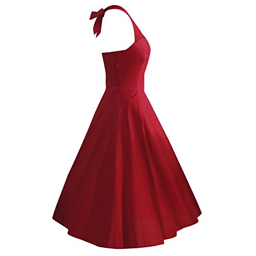 iLover Vintage 1950's Marilyn Monroe pin up robe de soirée cocktail, style halter années 50 robe rockabilly WineRed