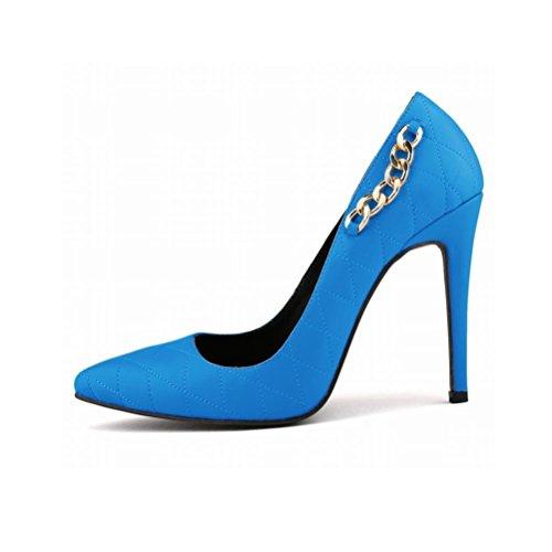 QPYC Ms Scarpe da sposa Scarpe col tacco alto Scarpe col tacco alto Moda Scarpe da donna con tacco fine di grandi dimensioni blue