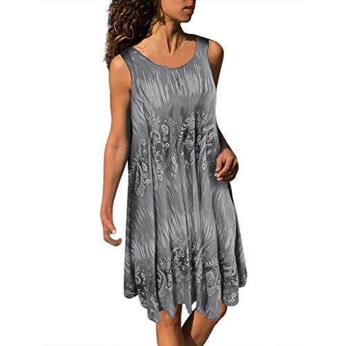 VJGOAL Kleider Damen Sommer Große Größen Freizeit Ärmellos Weste Strand Mini Dresses for Women (Halloween-kostüme 2-jähriger Junge 2019)