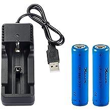 [Caricare la batteria ovunque] 18650 batteria Li-ion ricaricabile con caricatore, adatto a LED torcia elettrica, faro, luce della bicicletta, 2 batterie + 1 caricabatterie USB