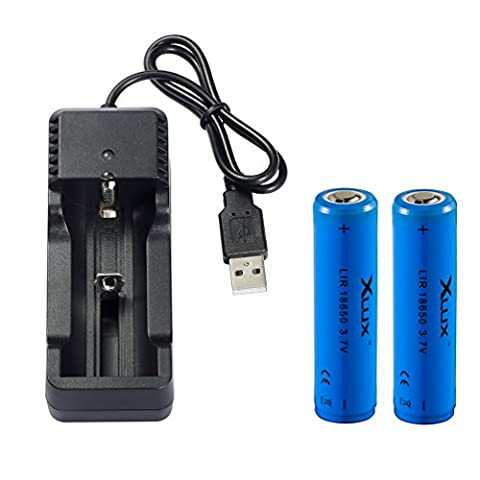 [Charge Anywhere] 18650 Li-ion Rechargeable battery with Charger, for LED Torch flashlight, headlamp and bicycle light, 2 Batteries + 1 USB charger, Not for E-cig