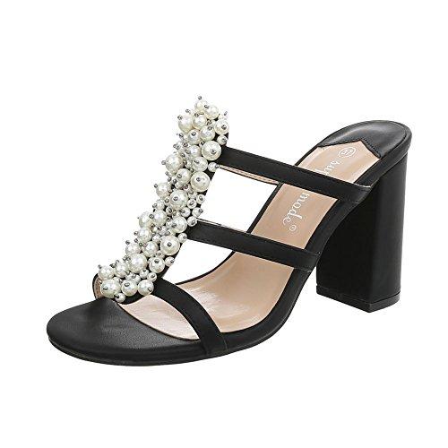 Ital-Design Pantoletten Damen-Schuhe Pump High Heels Sandalen & Sandaletten Schwarz, Gr 39, 9354- -