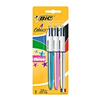 BIC 4 Colours Shine Ballpoint Pens Medium Point (1.0 mm) - Assorted Metallic Barrels, Pack of 2+1