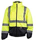 Warnschutzjacke S-5XL Pilotenjacke Arbeitsjacke Sicherheitsjacke Winter Jacke (Gelb-Marine, M)