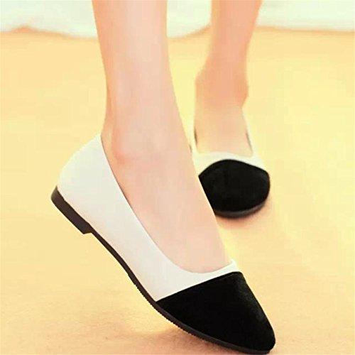 HCFKJ Les Femmes Occasionnelles Troupeau Tous Les Saisons Slip De Ballet Sur Les Chaussures Mocassins Plates Noir