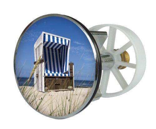 Waschbeckenstöpsel Design Strandkorb | Abfluss-Stopfen aus Metall | Excenterstopfen | 38 – 40 mm