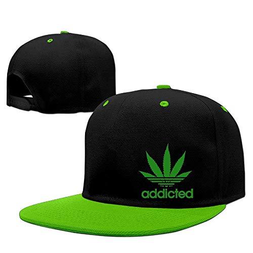 Süchtiger Cannabis Weed Leaf Caps Herren Hip Hop Vintage Snapbacks Screen-Print Unisex Strapback Hut