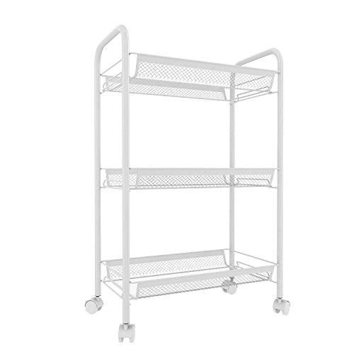 Rollregal Standregal für Küche, Badezimmer und Wohnzimmer Lagerregal Schmal Steckregal aus Metall mit 3-Etagen Weiß 78 x 48 x 26 cm