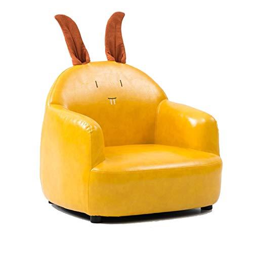 Kindersessel Sofa Sitz Bär Kaninchen Cartoon Tierförmige Dinosaurier Mädchen Spielzeug Gepolsterter Sitz Grau Grün Gelb KADJ (Color : Yellow Rabbit PU)