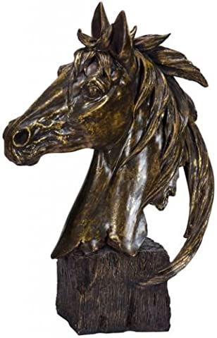Horse Head Antiqued Gold Bronze Effect Bust Statue Ornament