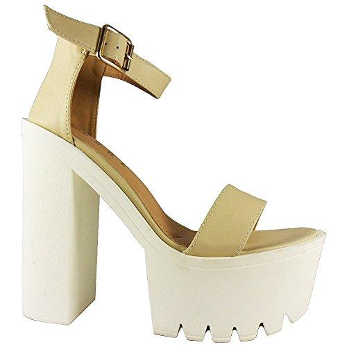Loudlook Nouveau Femmes Dames Cheville Platform Bretelles Boucles Crampons Chaussures ? Talons Hauts Sandales 3-8 Nude