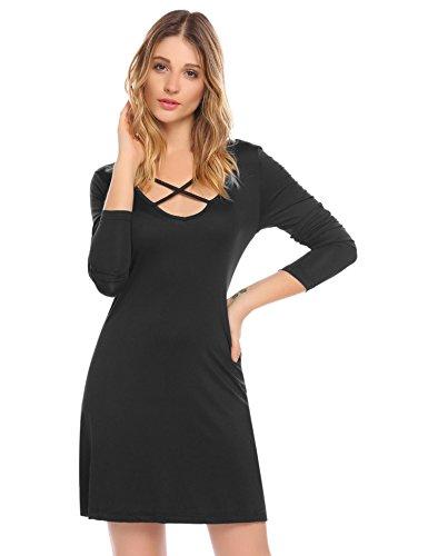 Keland Damen Super Basic Shirtkleid mit Schnürung am V-Ausschnitt Langarm Beiläufig Casual Kleid