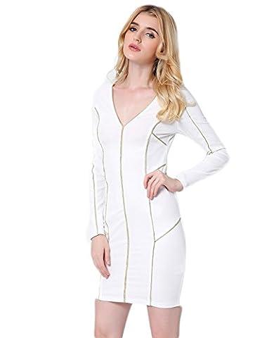Good dress V collier manches longues hip hanche robe courte section,blanc,L