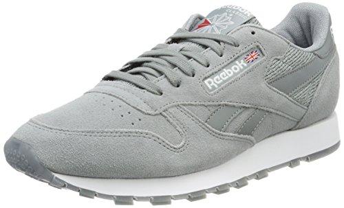 Reebok Herren Classic Leather NM Sneaker, Grau (Flint Grey/White), 42 EU (Hohe Große Reebok)