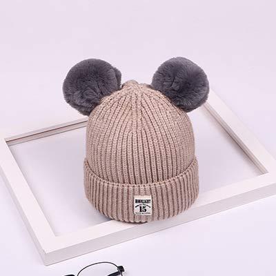 mlpnko Baby Hut niedlichen Jungen und Mädchen Doppelhaar Ball warme Wollmütze Baby-Sets von Strickmütze beige Farbcode
